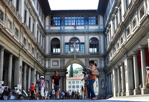 The Uffizi Gallery door 3 at the Uffizi Square in Florence